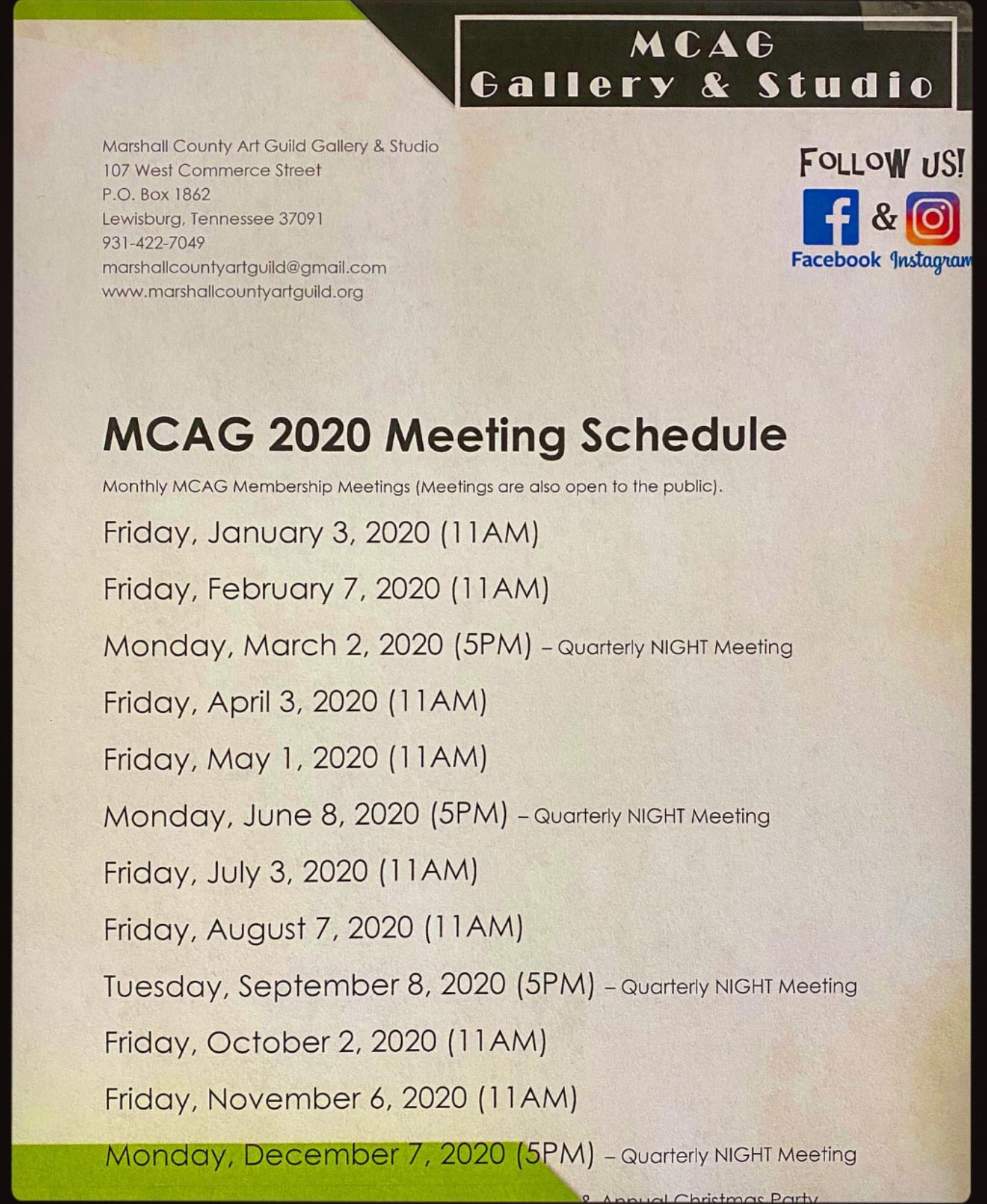 Art Guild Meeting Schedule 2020