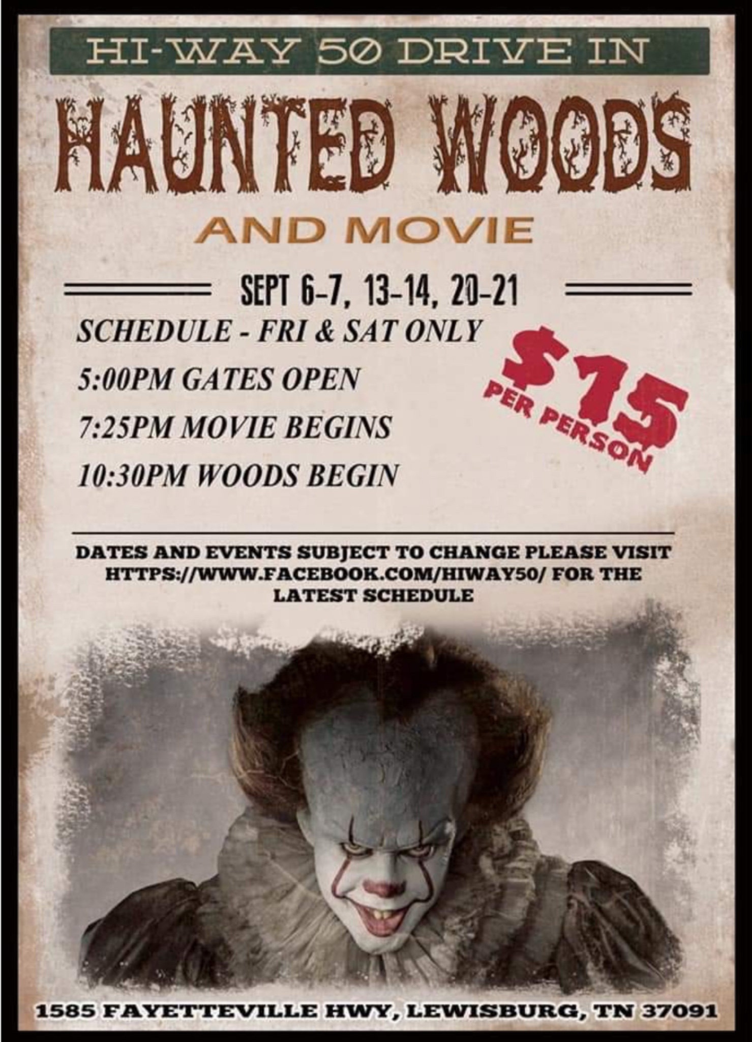 Hiway 50 drive in Haunted Woods