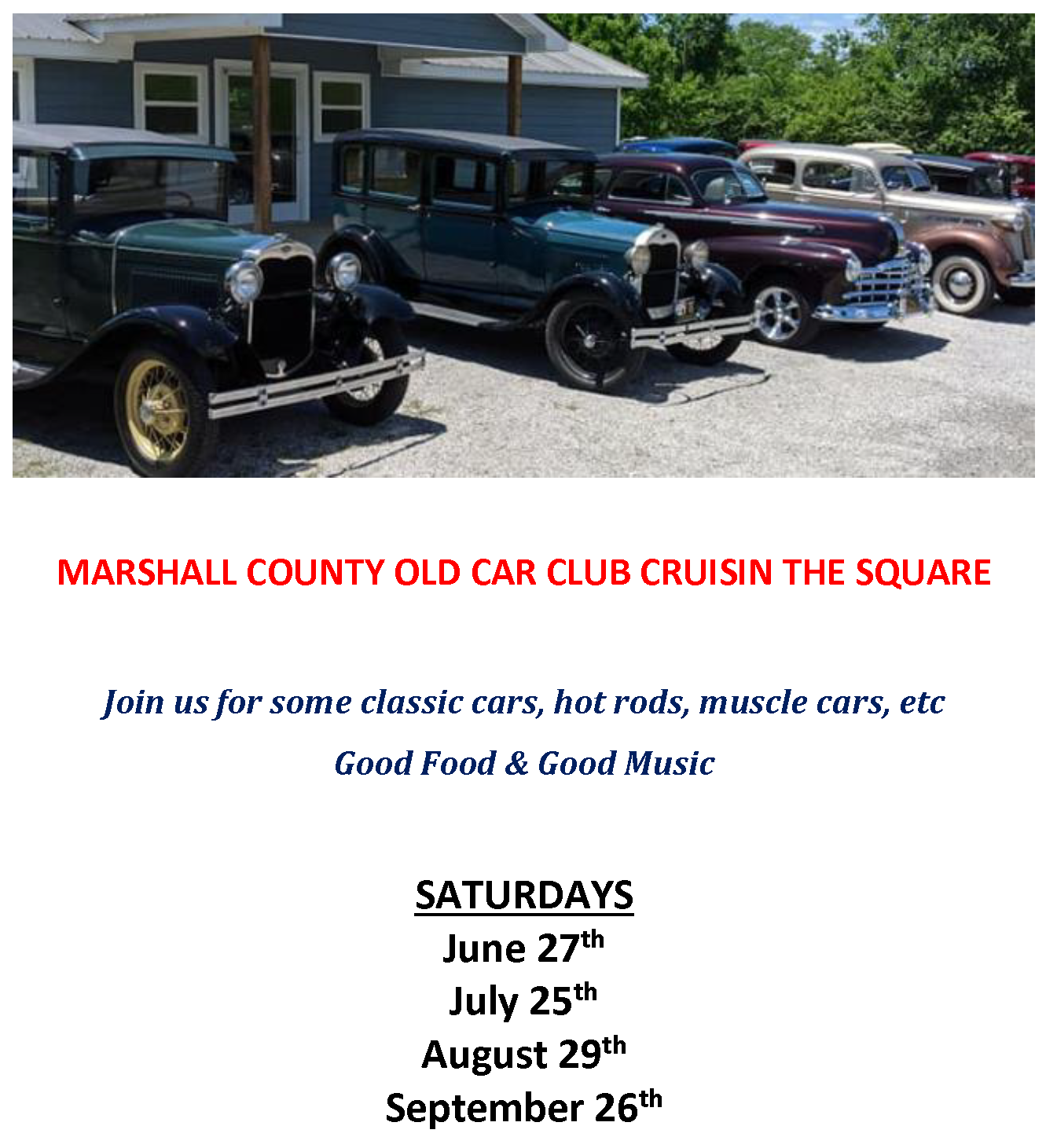 MARSHALL COUNTY OLD CAR CLUB CRUISIN THE SQUARE