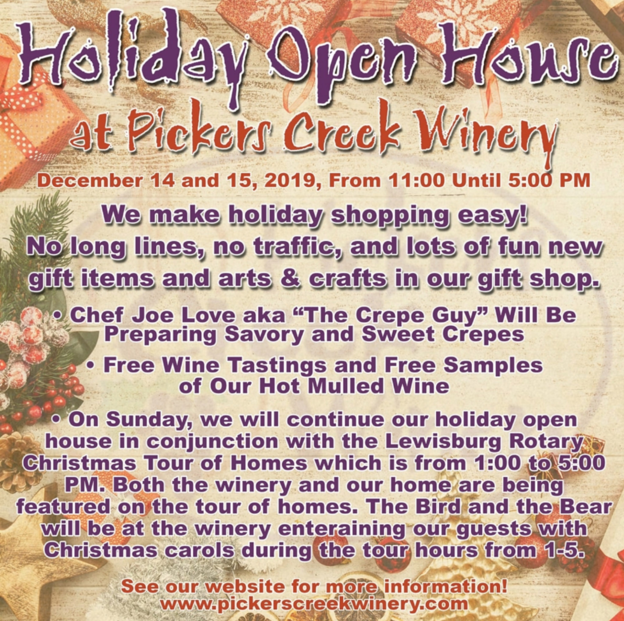 Pickers Creek Holiday Sales